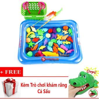 Bộ đồ chơi câu cá cho bé kèm bể phao + Kèm Trò chơi khám răng cá sấu