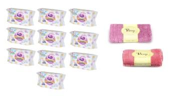 Bộ 10 gói khăn giấy ướt Merries hộp 54 miếng và 2 khăn mặt Poemy 29 x 29cm (Đỏ phối tím)