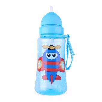 Bình uống nước nắp gập, ống hút silicon AMI 360ml màu xanh