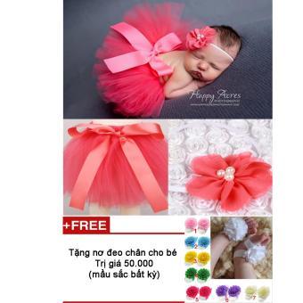 Bộ băng đô và váy chụp ảnh cho bé (hồng cam) + Tặng nơ chân màu sắc bất kì