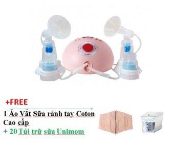 Máy hút sữa đôi Spectra Dew-350 (hồng) + Tặng 1 Áo vắt sữa rảnh tay coton cao cấp + 20 túi trữ sữa Unimom