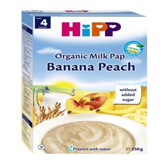 Bột sữa dinh dưỡng chuối, đào HiPP 250g