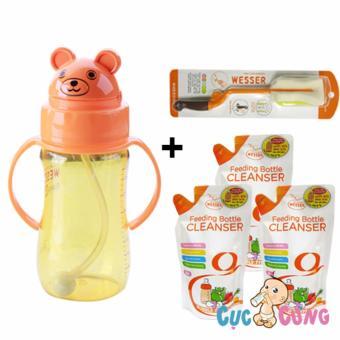 Combo bình nước wesser gấu + cọ rửa wesser + 3 bịch nước rửa bình sữa 500ml