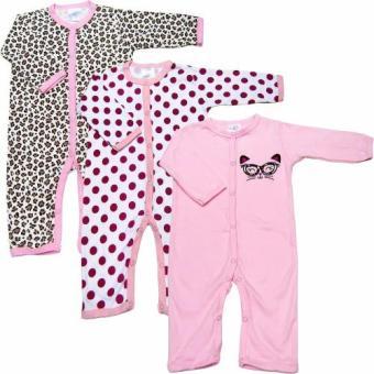 Bộ 3 áo liền quần dài bé gái từ 3 đến 12 tháng Baby Gear (Màu sắc ngẫu nhiên)
