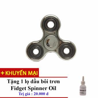 Đồ Chơi Con Quay Giúp Xả Stress Fidget Spinner Kim Loai ( Màu Bạc) + Tặng Dầu Bôi Trơn Fidget Spinner Oil
