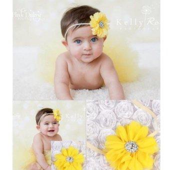 Bộ băng đô và váy chụp ảnh cho bé (Vàng)