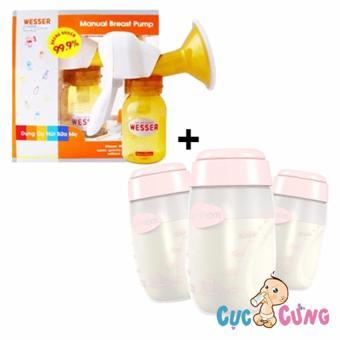 Bộ máy hút sữa Wesser bằng tay + Bình trữ sữa Unimom