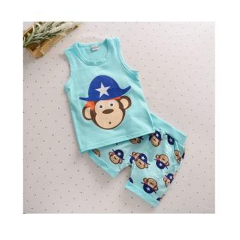 Bộ quần áo 3 lỗ mùa hè dễ thương cho bé NTKIDS-111 xanh khỉ
