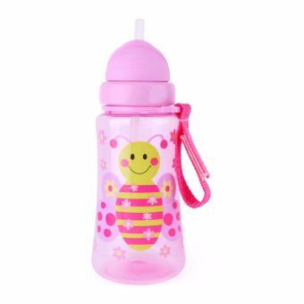 Bình uống nước nắp gập, ống hút silicon AMI 360ml màu hồng