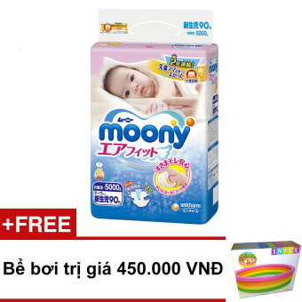 Bộ 3 tã giấy Moony Newborn 90 + Tặng 1 bể bơi trị giá 450.000 VND