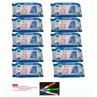 Bộ 10 gói khăn ướt 100 tờ BABYMOMMY + tặng kèm 01 dụng cụ lấy ráy tai FLASHLIGHT EARPICK