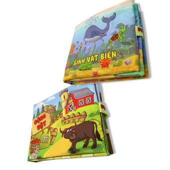 Bộ 2 sách vải cho bé chơi mà học Pipo - Sinh vật biển và động vật