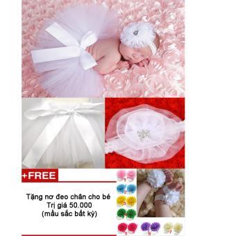 Bộ băng đô và váy chụp ảnh cho bé (Trắng) + Tặng nơ chân màu sắc bất kì