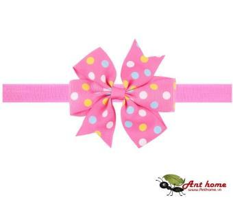 Phụ kiện tóc băng đô handmade cho bé AHBĐ6 mầu hồng chấm bi vàng xanh (số 5)