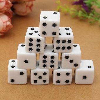 10PCS 16mm Gaming Dice Standard Six Sided Die 6D RPG For Birthday Parties White - intl