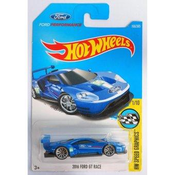 Xe ô tô mô hình tỉ lệ 1:64 Hot Wheels 2017 2016 Ford Gt Race Hw Speed Graphics 166/365 ( Màu Xanh )