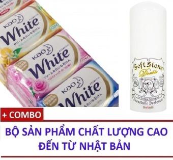 Combo Xà bông tắm Trắng da KAO White & Sáp lăn khử mùi đặc trị hôi nách