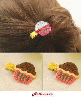 Mua Bộ 2 kẹp tóc handmade bằng len cho bé gái hình bánh KTEAH28-sl2 giá tốt nhất