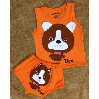 Bộ quần áo trẻ em in hình Chó con BTE021 (Màu cam)
