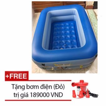 Bể bơi Summer 2 tầng cho bé loại 115cmx85cmx35cm + Tặng bơm điện (Xanh)