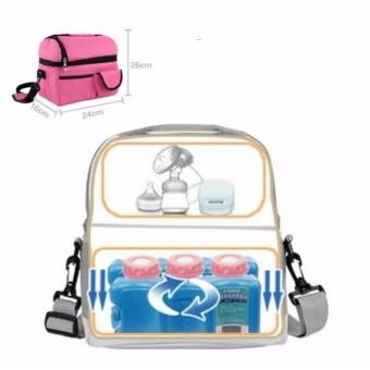 Túi giữ nhiệt bảo quản sữa cao cấp (Hồng) + Tặng 2 đá khô
