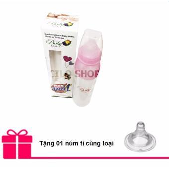 Bình sữa silicone kiêm bình thìa Baby Love 210ml (Hồng) + Tặng 01 núm ti cùng loại