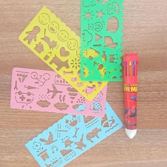 Combo bút 10 màu và thước tập vẽ cho bé