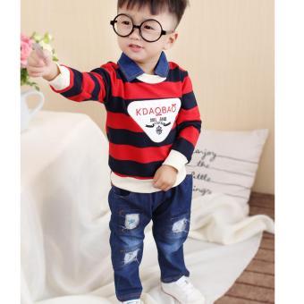 Bộ quần áo jean sọc ngang cho bé trai NTKIDS-121 (Đỏ)