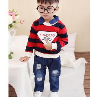 Mua Bộ quần áo jean sọc ngang cho bé trai NTKIDS-121 (Đỏ) giá tốt nhất