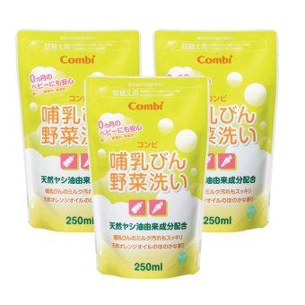 Bộ 3 túi nước rửa bình sữa Combi x 250ml