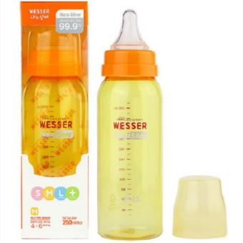 Bình Sữa Cổ Hẹp Núm Silicone Wesser 250Ml (Vàng)