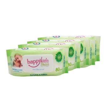 Bộ 5 gói khăn ướt mùi hương lô hội 80 tờ Happykids Nano (Xanh lá)