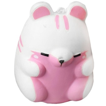 Cute Kawaii Soft Squishy Colorful Simulation Hamster Toy Slow Rising for Children Adults Relieves Stress Anxiety Home Decoration Sample Model Light Pink - intl