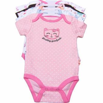 Bộ 5 áo liền quần bé gái từ 3 đến 12 tháng BG (Mẫm mèo hồng)