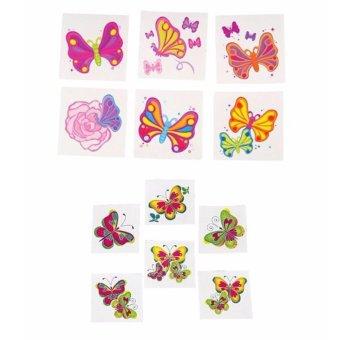 Bộ 12 Hình dán Tattoo Các mẫu Bướm cho bé - TT 05