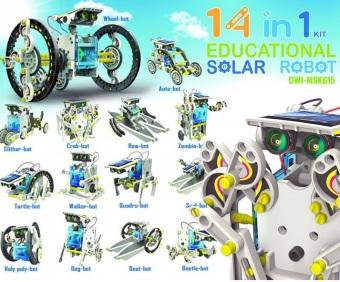 Bộ lắp ráp năng lượng mặt trời Robot tương lai 14 in 1 Educationa Solar Robot Kit