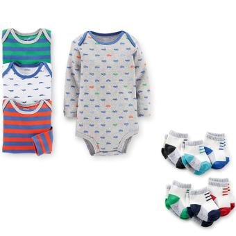 Bộ 4 áo liền quần tay dài và 6 tất Carter's bé trai