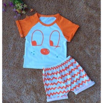 Bộ quần áo trẻ em in hình dễ thương BTE011 (Màu cam)