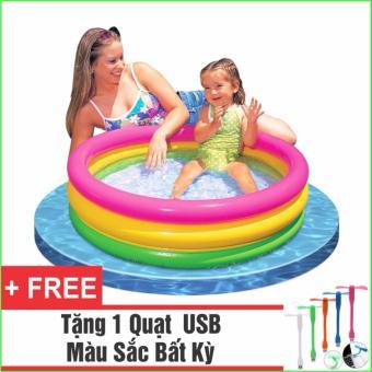 Bể Bơi Phao Cho Bé INTEX Cầu Vồng - Loại 3 tầng 86x25 + Tặng 1 Quạt USB tiện dụng