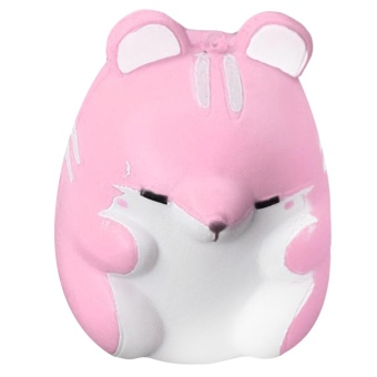 Cute Kawaii Soft Squishy Colorful Simulation Hamster Toy Slow Rising for Children Adults Relieves Stress Anxiety Home Decoration Sample Model Pink - intl