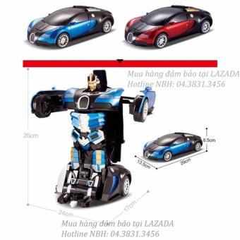 Ô tô biến hình Robot có đèn nhạc (Xanh phối đen)