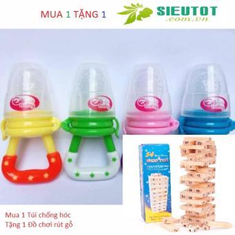 Túi nhai ăn dặm chống hóc thông minh của Hàn Quốc cho bé yêu (tặng bộ rút gỗ đồ chơi cho bé lớn)
