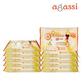 Bộ 10 gói khăn ướt Agassi hương quyến rũ 10 tờ (Màu cam)