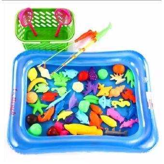 Bộ đồ chơi câu cá cho bé kèm bể phao kèm bơm tay ( Bể Cá màu xanh) - HN (Xanh dương nhạt)