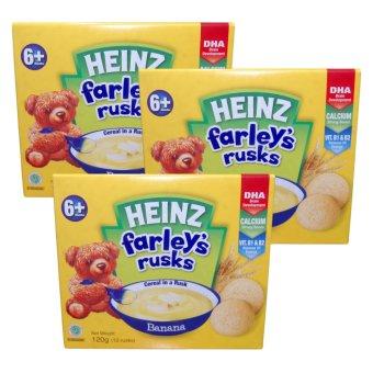 Bộ 3 hộp bánh ăn dặm Heinz Farley's Rusks chuối 120gx3