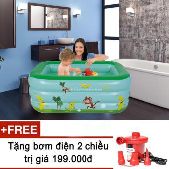 Bể bơi phao 3 tầng cho bé size to 150x110x50cm mẫu mới 2017 + Tặng bơm điện (Xanh cốm)