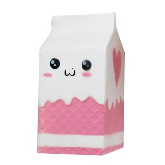 Cute Kawaii Soft Squishy Charms Milk Bag Toy Slow Rising for Children Adults Relieves Stress Anxiety Cabinet Decoration Sample Model - intl