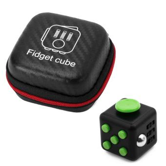 Mini Portable Fashion 1.3inches Fidget Cube Relieves Stress Anxiety 6-sides Desk Toy with Storage Bag for Children Adults Anxiety Attention Black-green - intl
