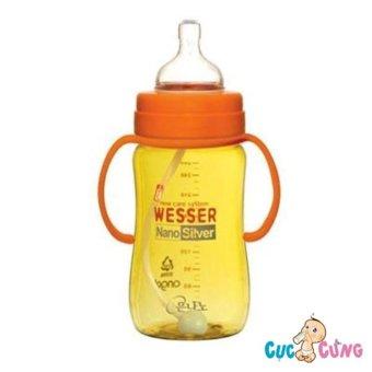 Bình sữa Wesser 260ml cổ rộng có ống hút Nano Silver (Yellow)