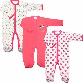 Bộ 3 áo liền quần kèm tất bé gái Baby Gear (Hình con cú)